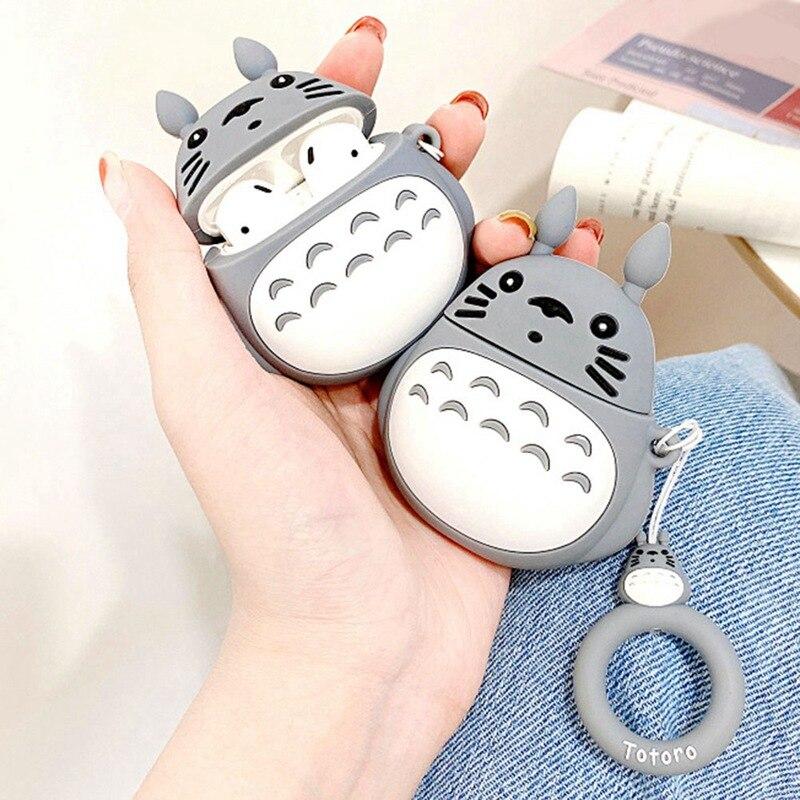 Para AirPods funda 3D Cute Cartoon Kawaii Totoro auriculares funda para Airpods 3/i10/i11/i12 TWS proteger la cubierta con la correa del anillo del dedo