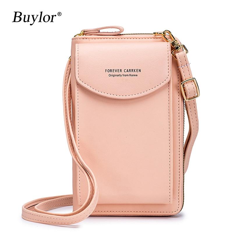 Buylor Women Shoulder Bag Mini Mobile Phone Bag PU Luxury Messenger Bag Handbag Pure Color Wallet