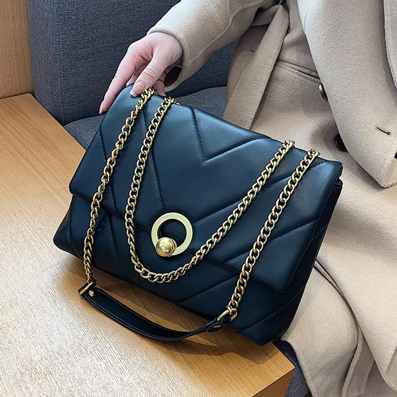 Small Chain PU Leather Crossbody Bags For Women 2021 Winter Branded Handbags Trend Lady Designer Women's Luxury Hand Bag