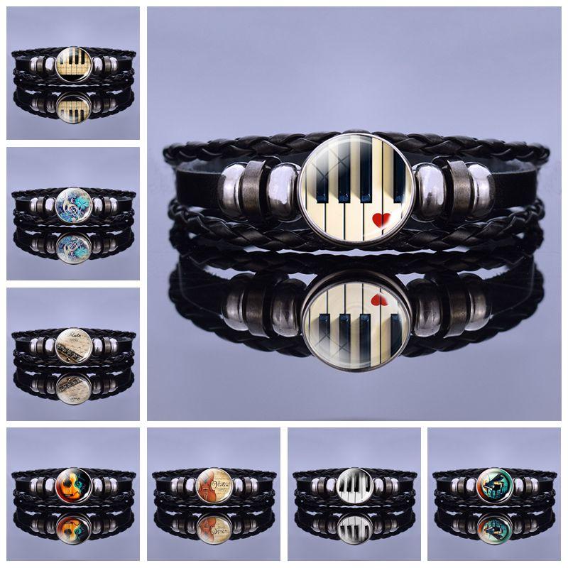 Pulseira de piano instrumentos musicais clift imagem snap vidro preto pulseira de couro guitarra clarinete flauta violino charme pulseiras presente