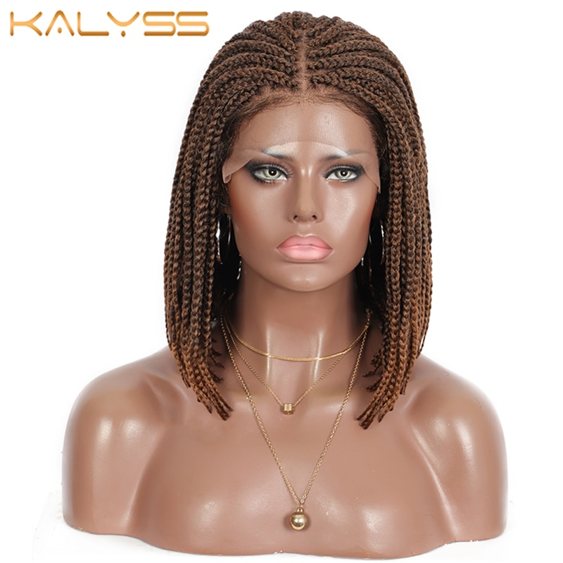 Kalyss 11 Inches Knotless Lace Front Braided Wigs Brown BoB 4x4 Lace Synthetic Box Braids Wig with Baby Hair for Black Women