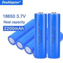 True ความจุ100% ใหม่ Original Doublepow 18650แบตเตอรี่3.7V 2200Mah 18650แบตเตอรี่ลิเธียมแบบชาร์จไฟได้สำหรับไฟฉายแบตเตอรี่