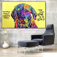 color animal poster graffiti painting puppy dog canvas painting scandinavian painting wall art decoration poster picture room