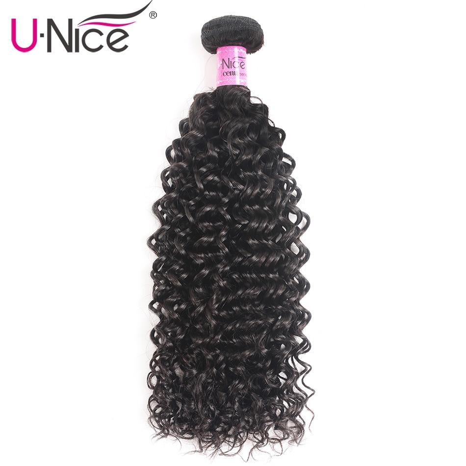 """Mechones de pelo rizado indio UNice Series Icenu, extensiones de cabello humano Remy de Color Natural, 1 Uds. Puede mezclar longitud 8-26"""""""