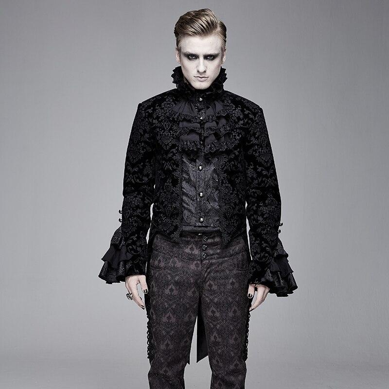 Gothic Dark Style Men's Jacket Slim Play Role Coat Gentleman Banquet Coat Punk Party Men's Ruffle Sleeve Coat