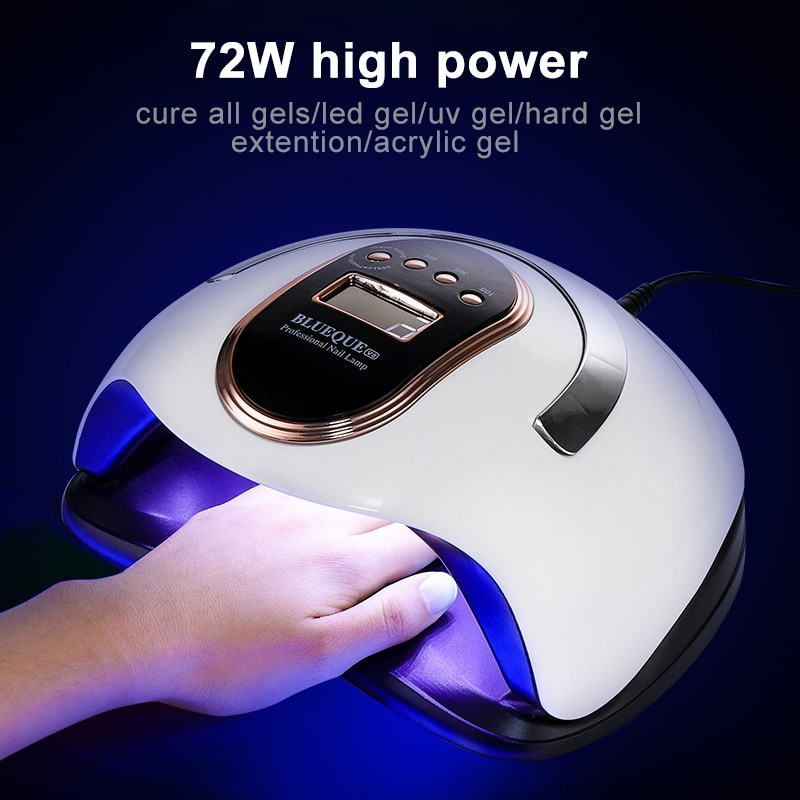 72W Nail Dryer Machine Gel Nail Polish Manicure lamp Set With 36 Pcs Leds With Motion sensing LCD Display