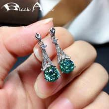 Модные серьги-подвески с черным ангелом, Муассанит для женщин, серьги с голубым и зеленым драгоценным камнем, оптовая продажа, украшения для...