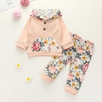 0 2 years baby girls two piece cotton clothes set apricot floral printed pattern hooded pullover and pants