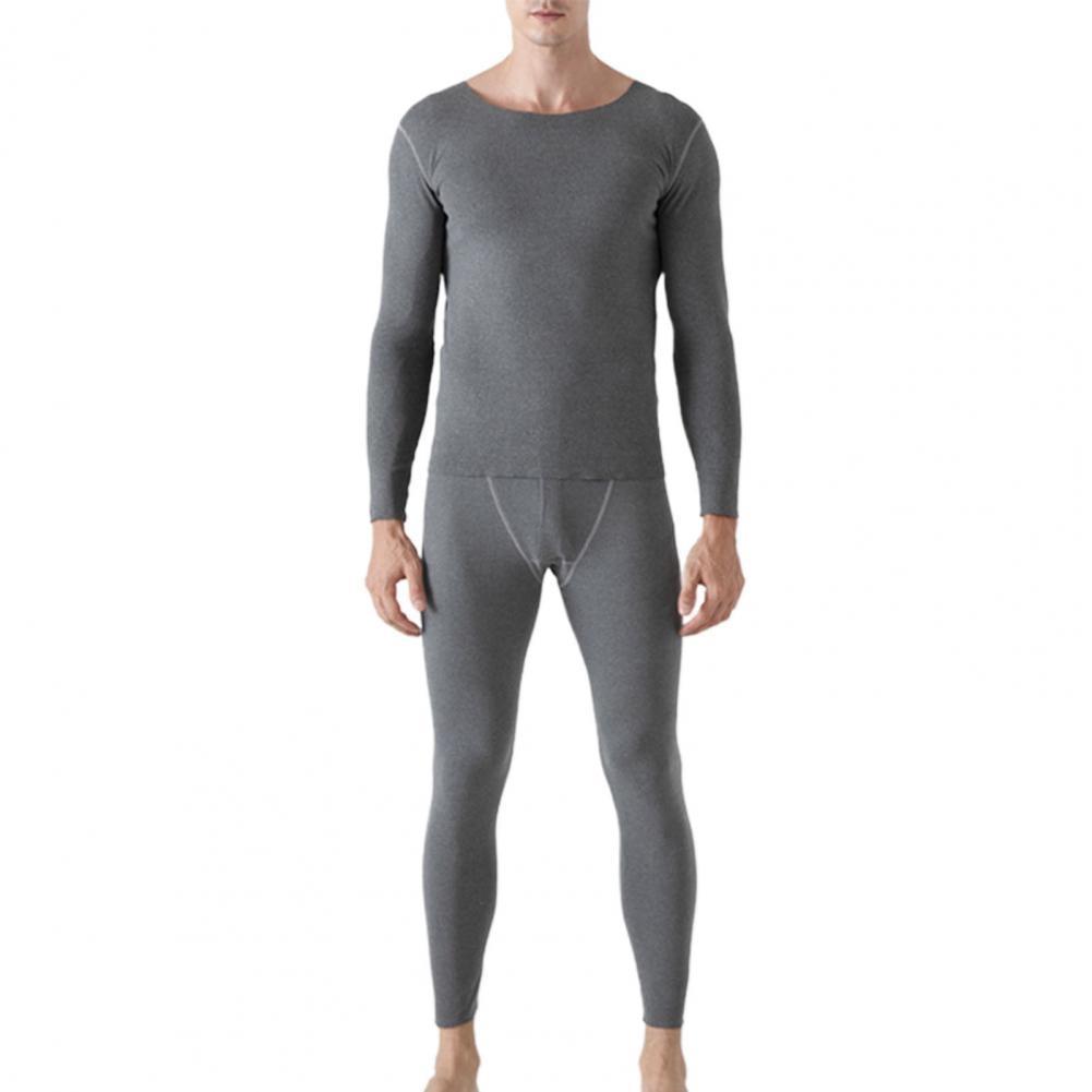 Men Pajama Sets Autumn Winter Seamless Long Sleeve Warm Sleep T-shirt Pants Thermal Underwear Set Solid color Lounge 2021