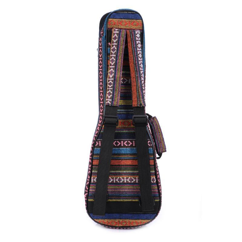 Mochila Ukelele de guitarra de estilo étnico de 21/23/26 pulgadas, mochila con doble correa de hombro, funda acolchada de algodón para guitarra Ukelele