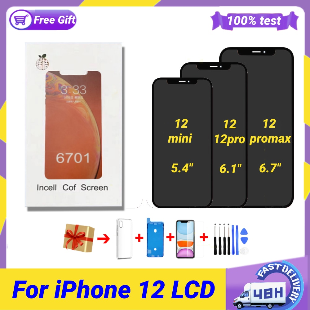 Review Ready Stock RJ INCELL Pantalla for iPhone 12 Mini 12 12Pro 12 PRO Max Lcd Replacement Screen Display 3D Digitizer Full Assembly