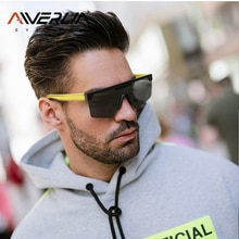 AIVERLIA Male Flat Top Sunglasses Men Women Sunglasses Brand Design Black Square Shades UV400 Gradie
