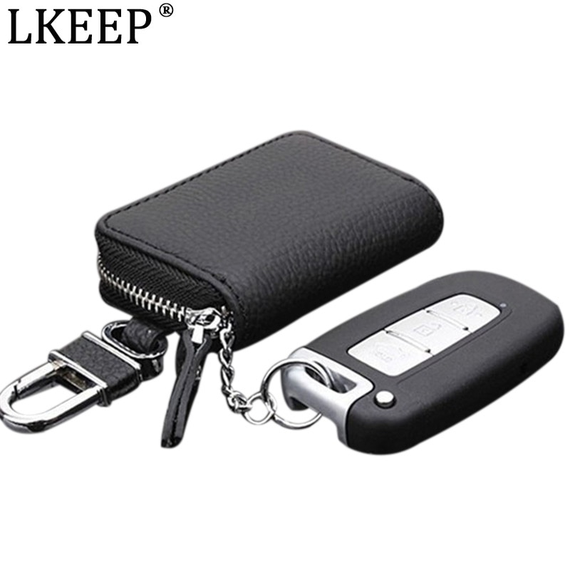 PU Leather Car Key Wallets Men Women Key Holder Housekeeper Key Organizer Keychain Cover Zipper Keys