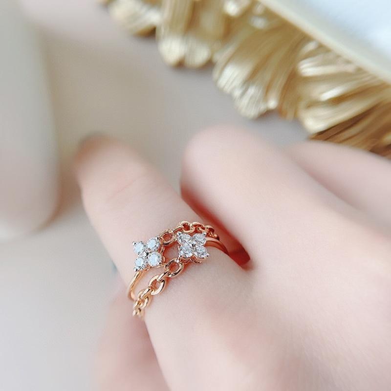 Aazuo INS Style 18K Orignal Rose Gold Real Diamond Fashion Lock Chain Ring for Woman Senior Party Advanced Customization Hotsale
