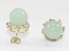 Gros bijoux belle 10mm vert clair perle de jade naturel 18kgp cristal incrusté boucles doreilles