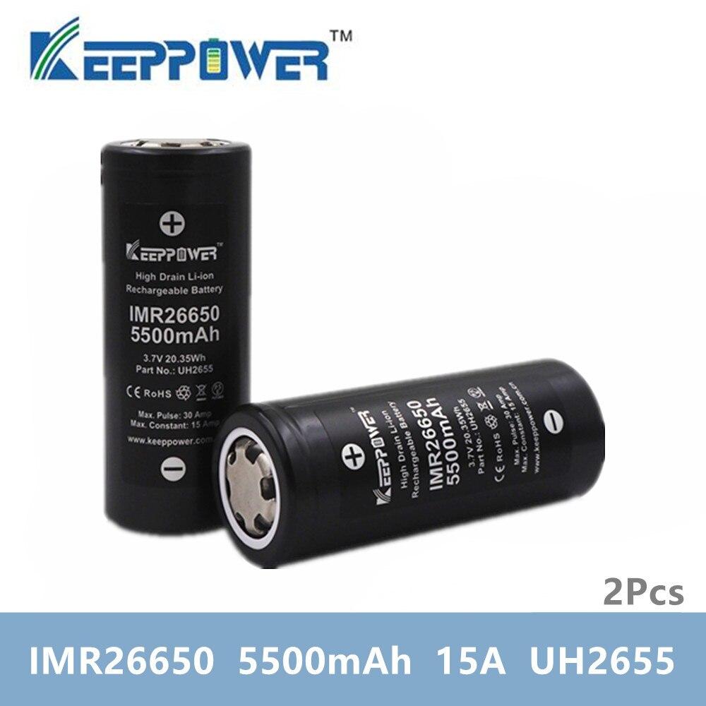 2 pcs KeepPower IMR 26650 סוללה IMR26650 5500mAh 15A פריקה 3.7v ליתיום סוללה זרוק חינם מקורי batteria