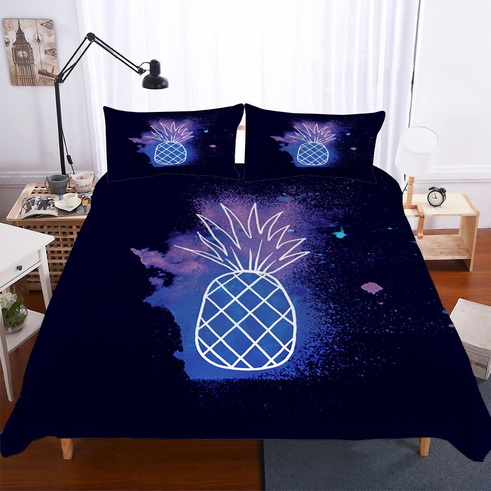 MEI Dream Ice-cream Stick Double Bedding Comforter Black Pineapple Cover Set for Boy