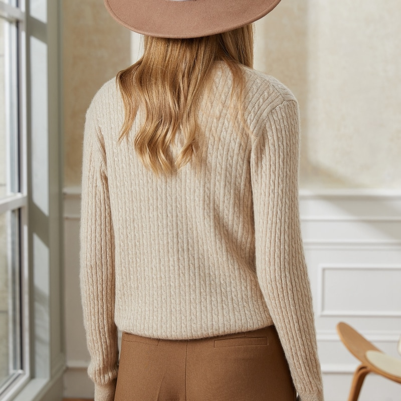 Tailor Shop Custom Made Round Neck Short Body Small Twist Pure Cashmere Cardigan Women's Knitted Base Sweater enlarge