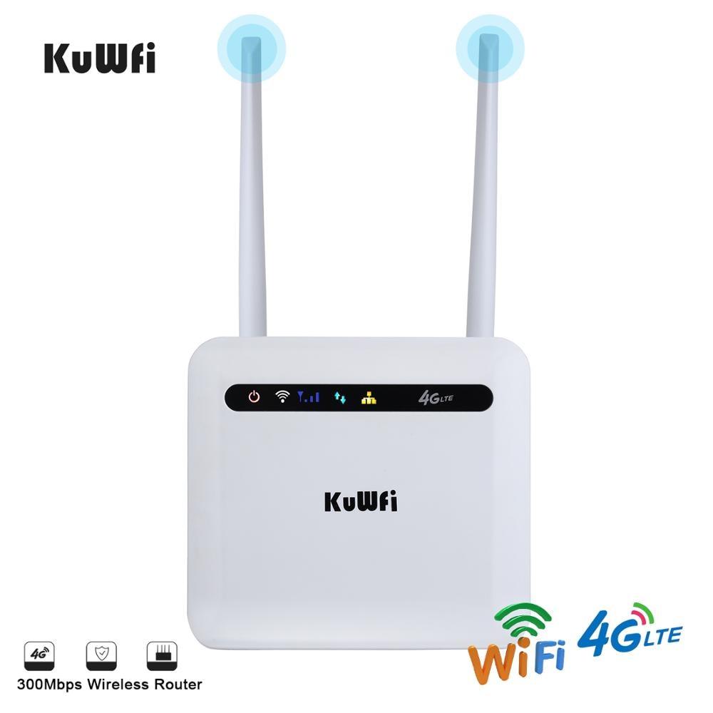 KuWFi 4G SIM Wifi Router 4G LTE CPE Router CAT4 150Mbps desbloqueado 4G FDD / TDD con puerto RJ45 Lan compatible con 32 usuarios de Wifi