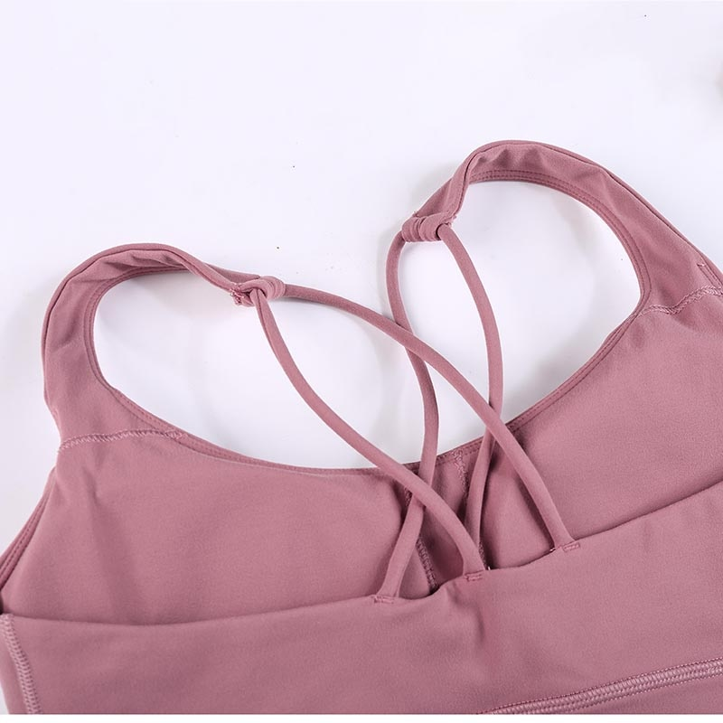 BESCSHERE Naked-feel Fabric Double Straps Athletic Sport Bras Top Women Push Up Padded Gym Yoga Fitness Crop Tops Running Bras