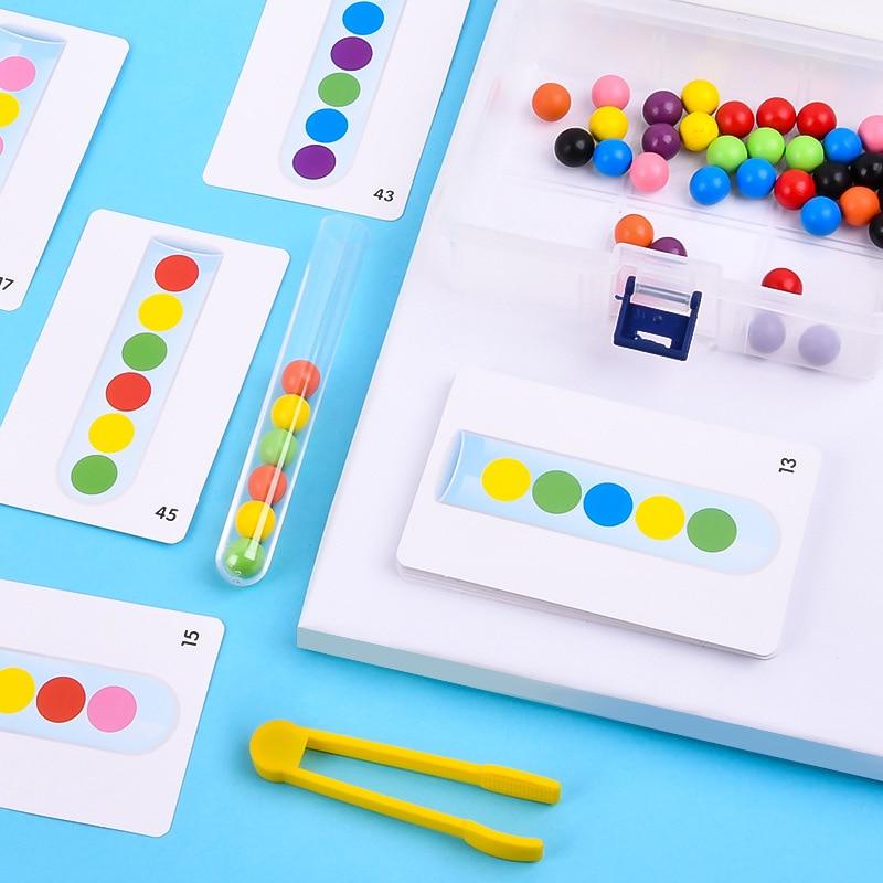 preschool skills Educational Fine Motor Skills Game Kid Ball Inference Logical Thinking Test Tube Game Colorful Beads Sensory Toys Preschool Toys