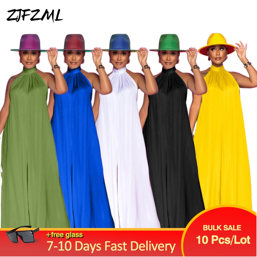 Bulk Items Wholesale Lots Women's Long Jumpsuit Simple Casual Turtleneck Sleeveless Loose Overall Unique Design Boot Cut Outfit