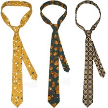 Mens Cotton Paisley 6cm Slim Tie Print Neck Ties for Women Narrow Necktie Slim Cravate Flower Skinny