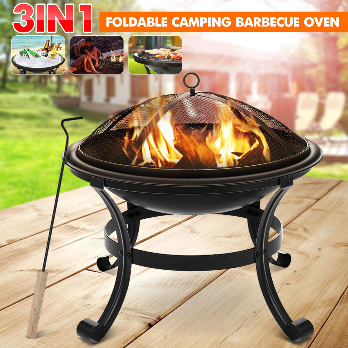Portable Wood Burning Fire Pits Curved Feet Brazier Decoration for Backyard Poolside 100% Iron Black Courtyard Metal Fire Bowl