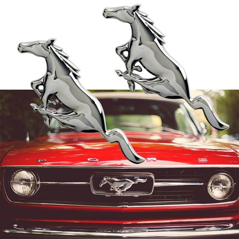 Voiture style 3D métal Mustang cheval capot avant Grille emblème autocollant course cheval décalcomanie pour Ford Mustang accessoires Shelby GT