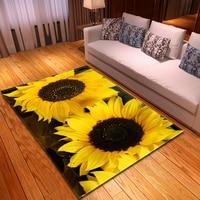 3D Sunflower Pattern Carpets Rug Kids Bedroom Mat Children Play Mat Memory Foam Bedside Area Rugs Flowers Living Room Carpet