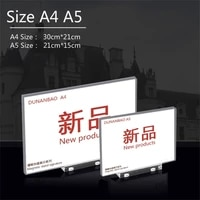 a4 a5 a6 acrylic magnetic base sign holder t shaped display stand picture frame