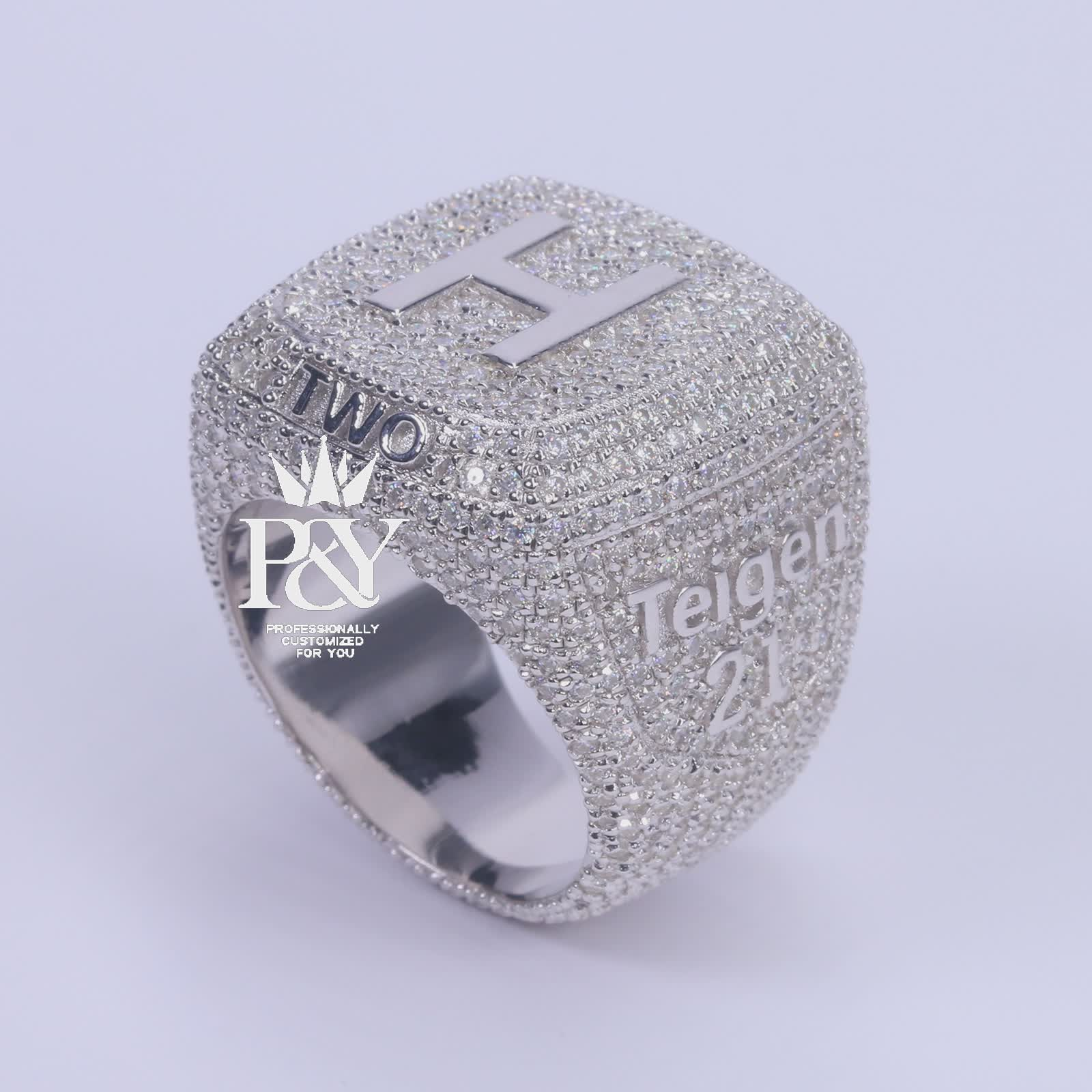 P&Y Custom Vvs D Moissanite Diamond Two Tone Plating Champion Ring Micro Pave Cz Stones Customized Hip Hop Iced Out Rings