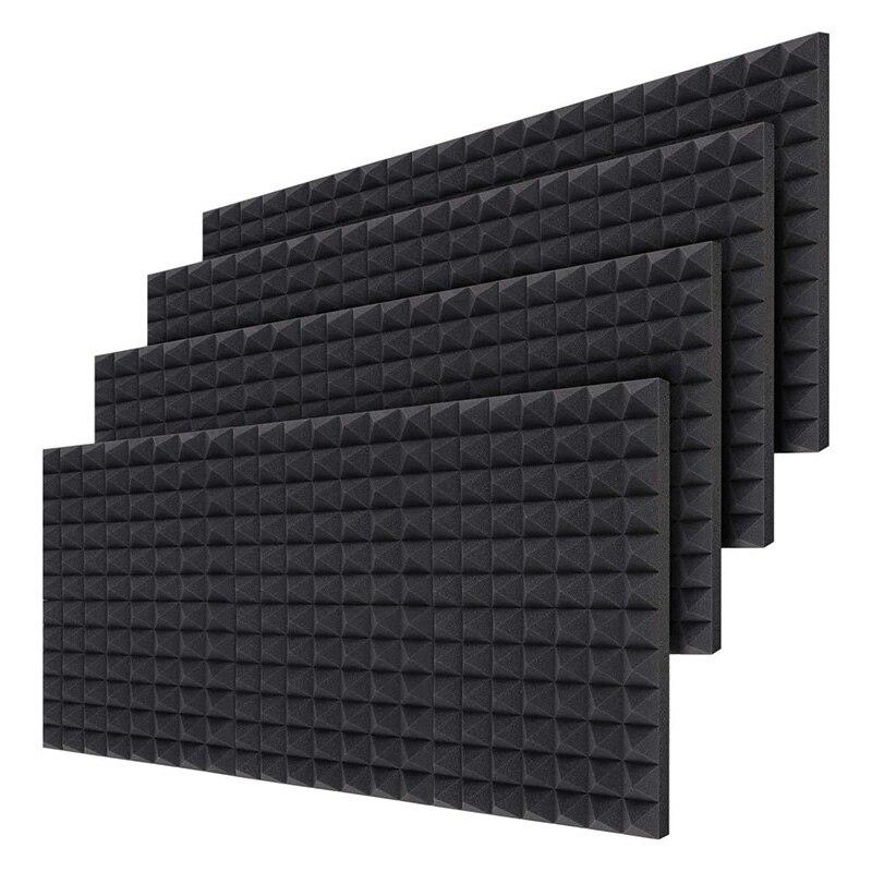 24 قطعة ألواح فوم صوتية ، امتصاص الصوت الملطف جدار رغوة الهرم 2 بوصة المعالجة الصوتية ، 40X30X5 سم
