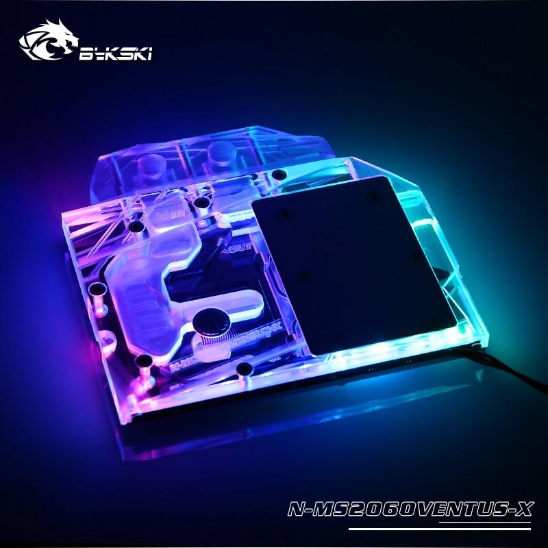 BYKSKI Water Cooling Block use for MSI GeForce RTX2060 VENTUS XS/Full Cover Graphics Card Radiator Copper Block / RGB Light AURA
