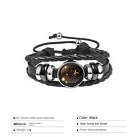 twelve constellation woven hand strap men s bracelet korean style personality trendy bracelet rope jewelry rope chain leather