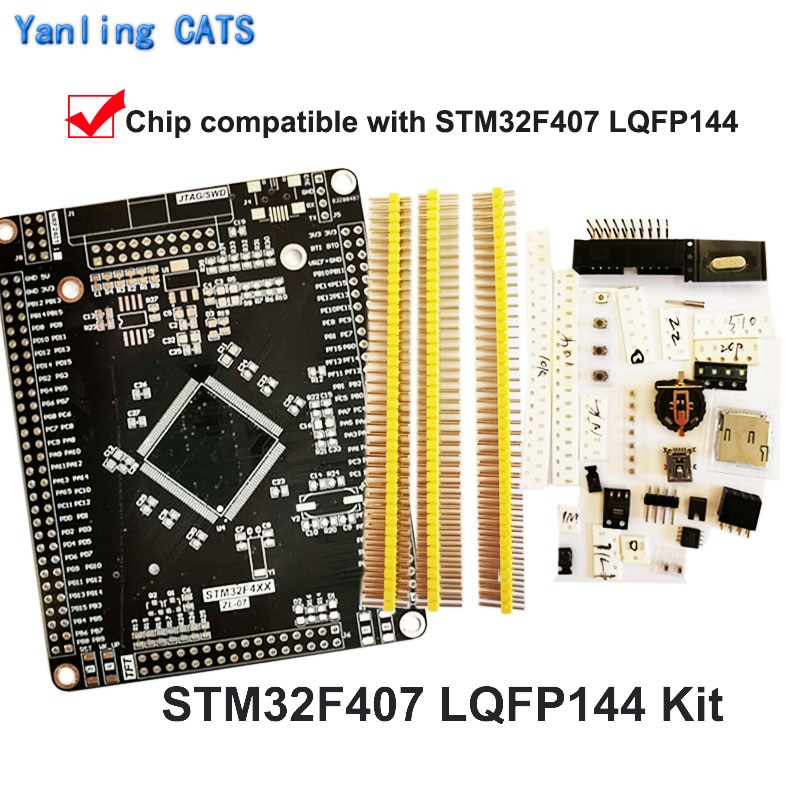 STM32F4 Discovery Board Arm Cortex M4 for DIY Welding STM32F407 417 LQFP144 Pin MCU for SWD Jtag Download 1PCS ZL-07 v9 v8 emulator adapter board supports jtag cortex stm32 super multi interface