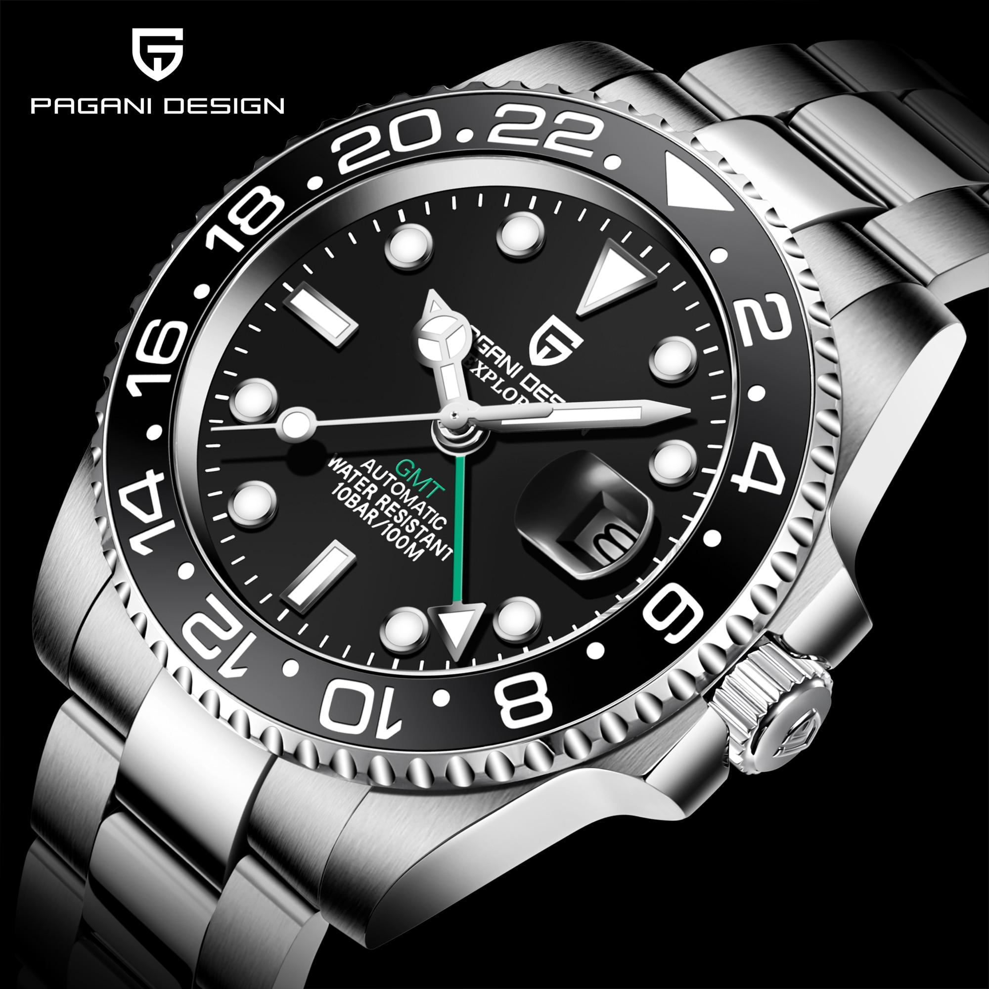 باجاني-ساعة فاخرة من الفولاذ المقاوم للصدأ ، تصميم GMT ، ساعة يد أوتوماتيكية من الياقوت والزجاج ، ذكر