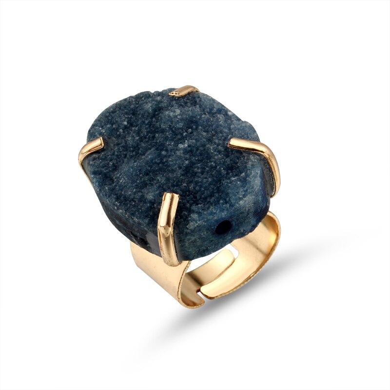 Joyería dayoff europeo anillos de piedra natural colorida para mujeres piedras irregulares Drusy Druzy anillo de bodas femenino regalo R7