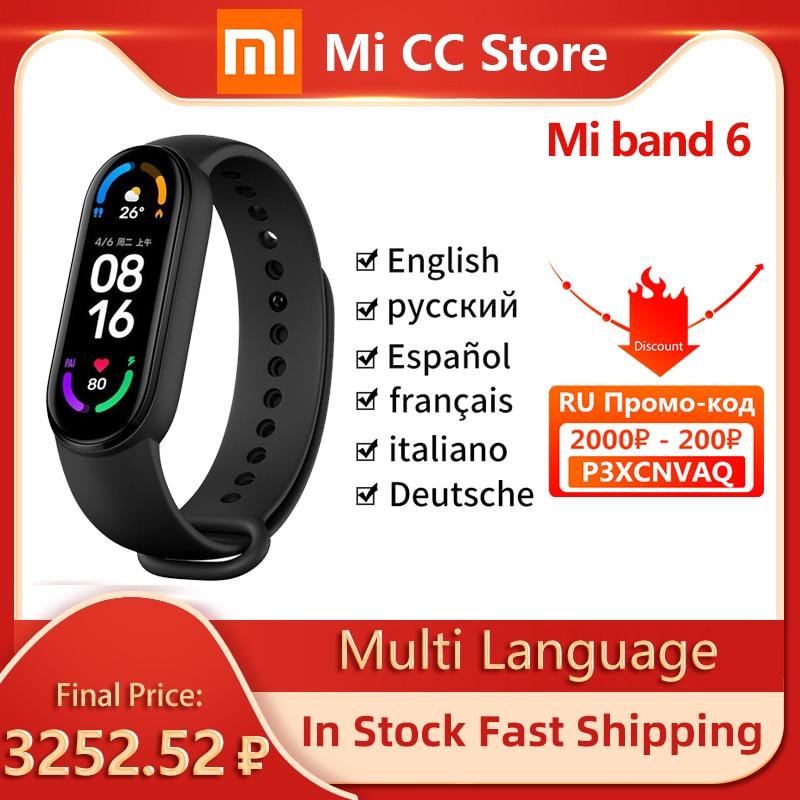 Xiaomi Mi Band 6 Smart Bracelet AMOLED Blood Oxygen Fitness Traker Heart Rate Bluetooth Waterproof Smart band 6