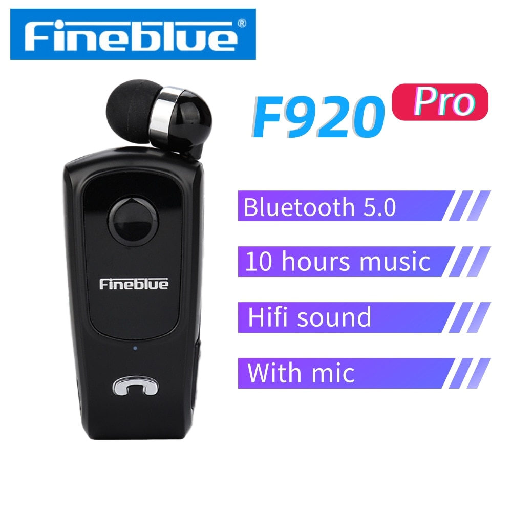 Fone de Ouvido Fone sem Fio Handsfree com Microfone Cancelamento de Ruído Fineblue Bluetooth Clipe no Colar hd Ouvido F920 Pro 5