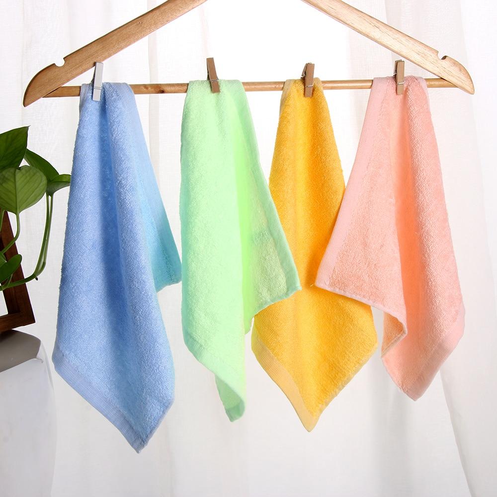 1 pieza verde/amarillo/rosa/azul 25*25cm cuadrado Color sólido fibra de bambú cara suave toalla de algodón para el cabello toallas de baño