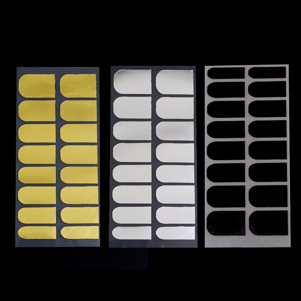 Novo 3 folha prego salão de maquiagem estúdio ou casa adesivos de unhas folha decoração 3 cores metal manicure preto ouro prata