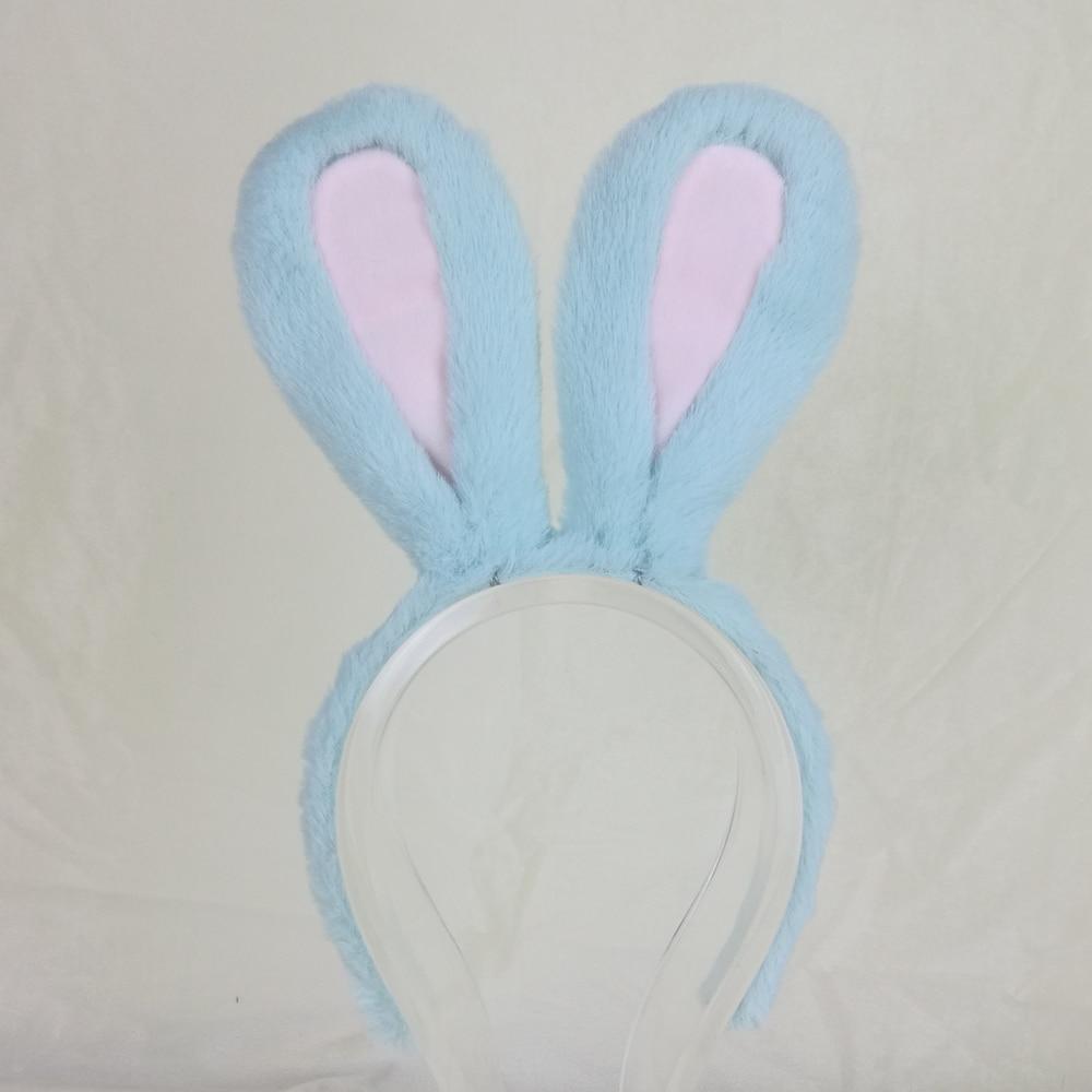 آذان أرنب دبدوب ، غطاء رأس ، فرو أزرق ، إكسسوار أداء مسرحي لعيد الميلاد ، مصنوع حسب الطلب