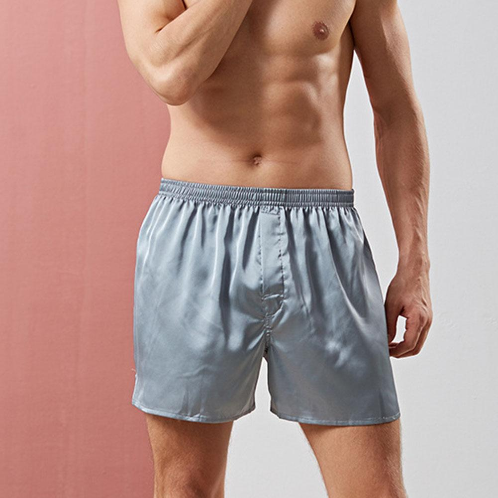 Summer Breathable Solid Color Shorts Elastic Waist Man Sleep Bottoms Silky Homme Boxers Lounge Sleep