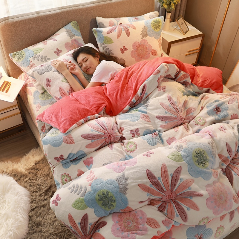 WOSTAR 3D printed floral plush duvet cover set winter warm flannel quilt cover super soft cozy luxury bedding set home textiles