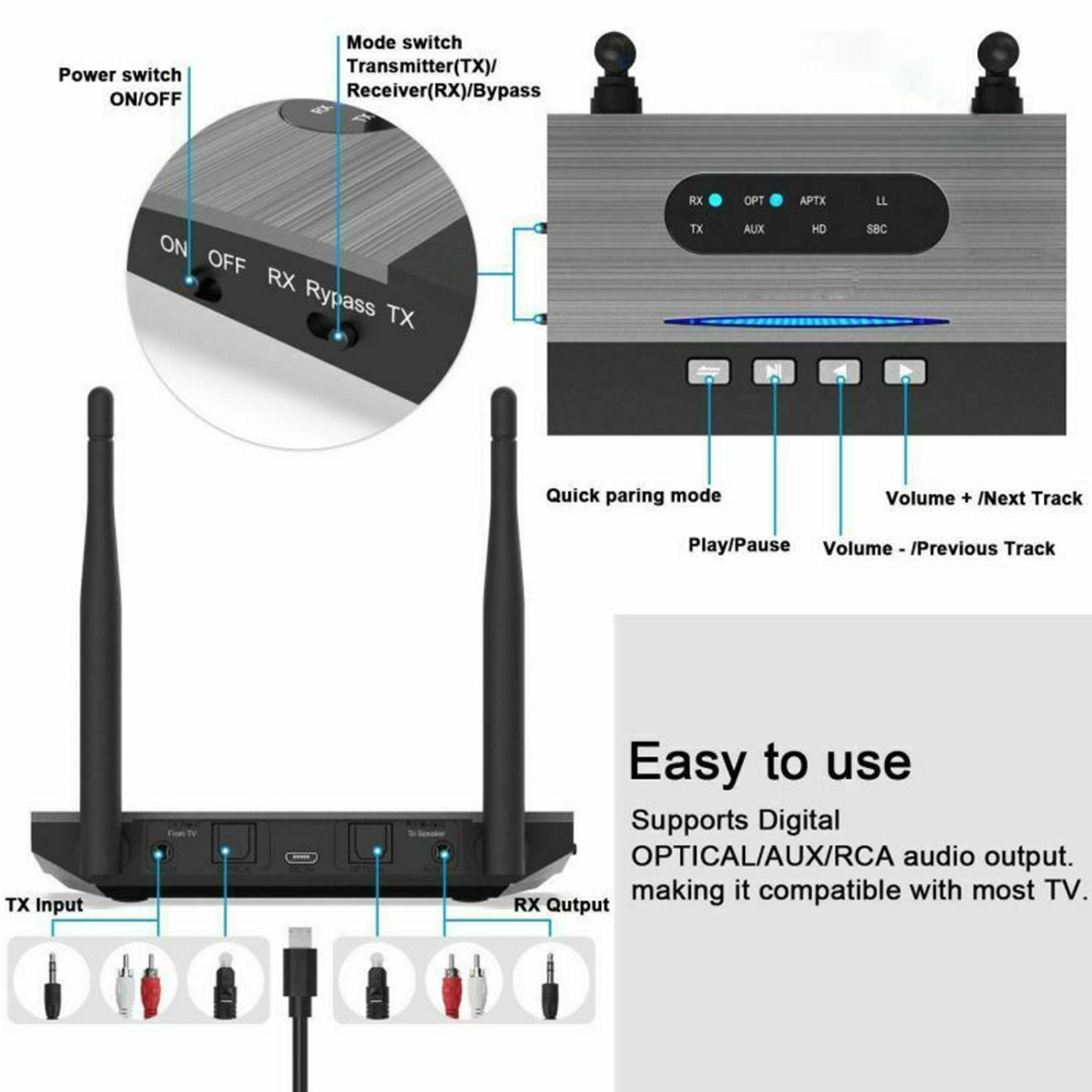 80m de Longa Distância Bluetooth 5.0 Transmissor Receptor 3in1 Música Áudio Nfc 262ft –