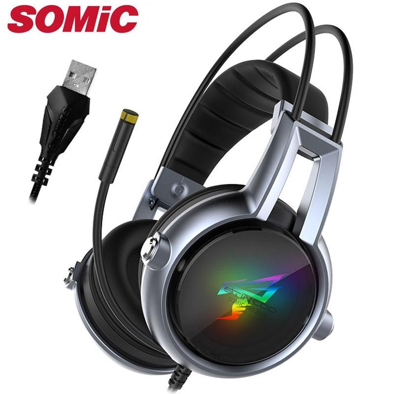 Gaming Hoofdtelefoon 7.1 Sound Trillingen Headset Oortelefoon Usb Met Mic Microfoon Pc Bass Stereo Computer Gamer Merk Somic E95