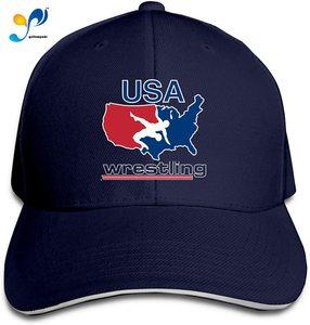 USA Wres-Tling Casquette Sunhat Adjustable Sandwich Cap Baseball Hats