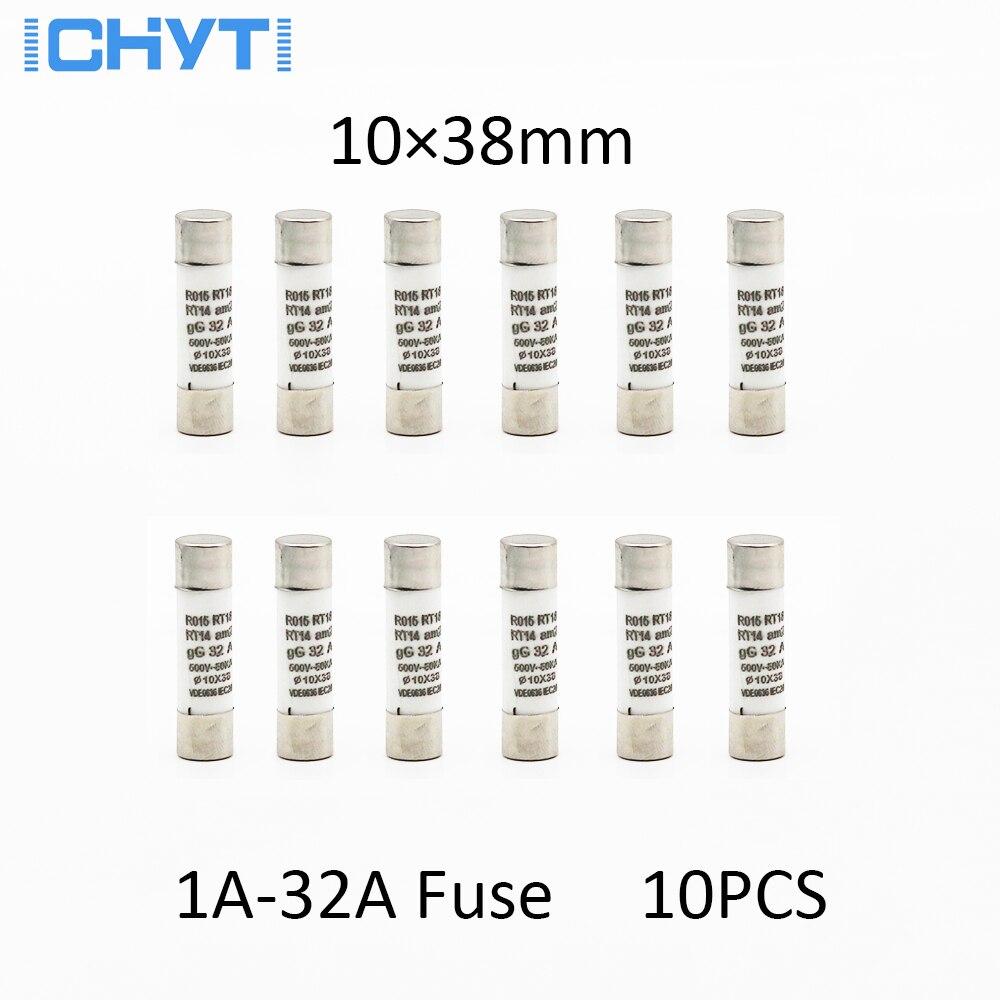 10 sztuk 10*38mm bezpiecznik ceramiczny bezpiecznik 250V 1A 2A 4A 6A 8A 10A 16A 20A 25A 32A RO15 RT18 RT14