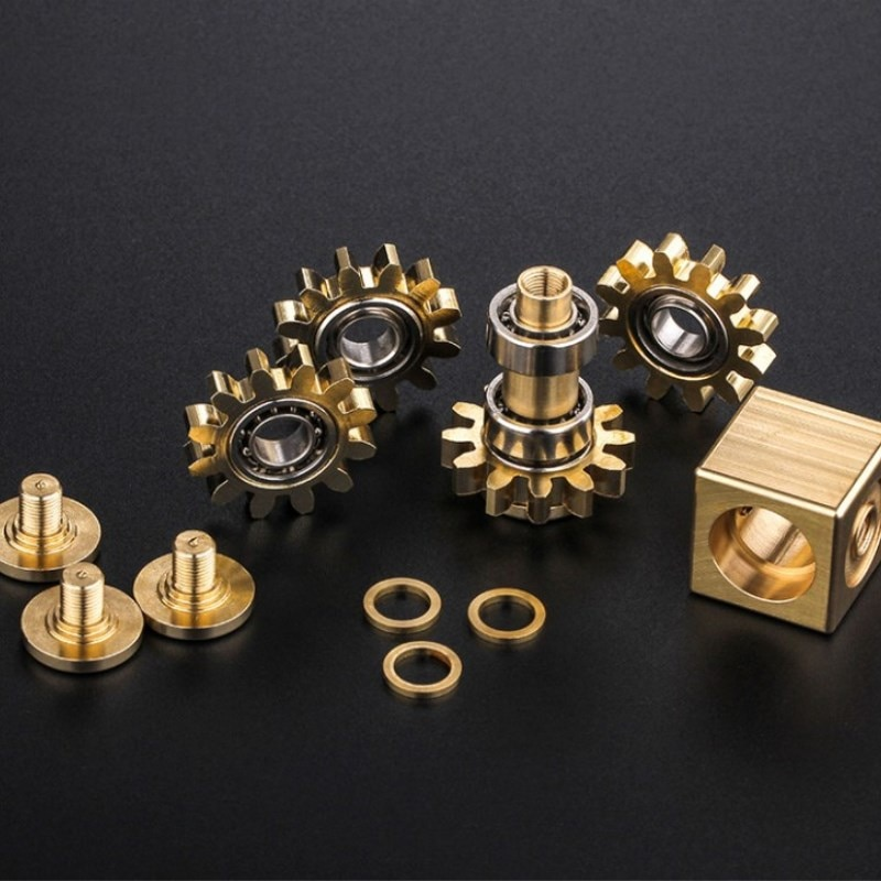 Fingertip gyro gear linkage cube pure copper finger mechanical gyro adult decompression toy gift craftsman feelings enlarge